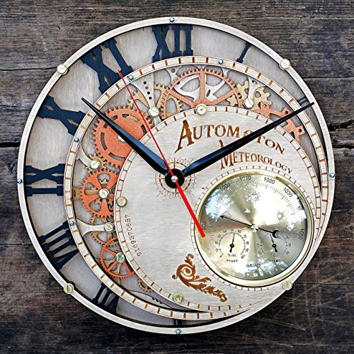 Meteorology Automaton large wall clock with built in meteostation (weather station) steampunk unique personalized gifts, anniversary gift, large wall clock modern wall clock