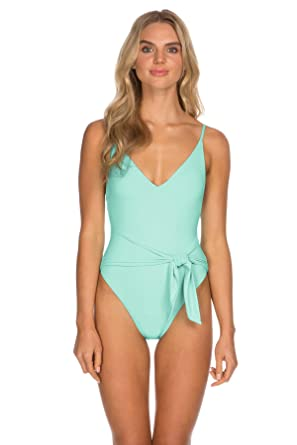 db48a13b753a ISABELLA ROSE Women's Double Take Wrap Front One Piece Swimsuit Biscayne S
