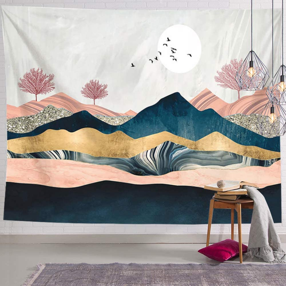 ANROYE Sunset Mountain Landscape Tapestry Wall Hanging, Nature Tree Forest Theme Tapestries for Home Dorm Living Room Bedroom Decor for Men and Women with Non-Mark Hooks & Clips 51x59 Inches