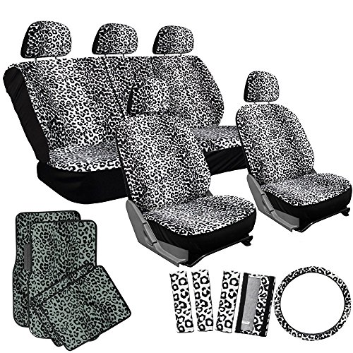 OxGord 21pc Snow White Leopard Print Car Seat Cover and Gray Carpet Floor Mat Set for Car, Truck, Van, SUV
