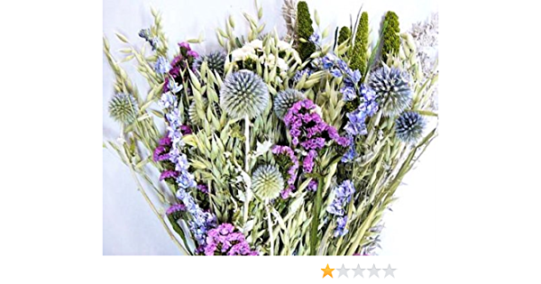Dried Flower Bouquet Blue Bunch Home Kitchen Amazon Com