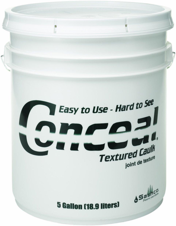 Sashco 46035 Conceal Acrylic Latex Textured Caulk, 5-Gallon Pail, Golden