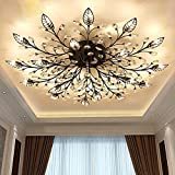 Cheap DIY FamilyModern Crystal LED Ceiling Lamp,Leaf Flush Mount Ceiling Light Fixture Decorative Crystal Chandelier for Dining Room Bedroom Livingroom Pendant Light(15-Head) (Black(15head))