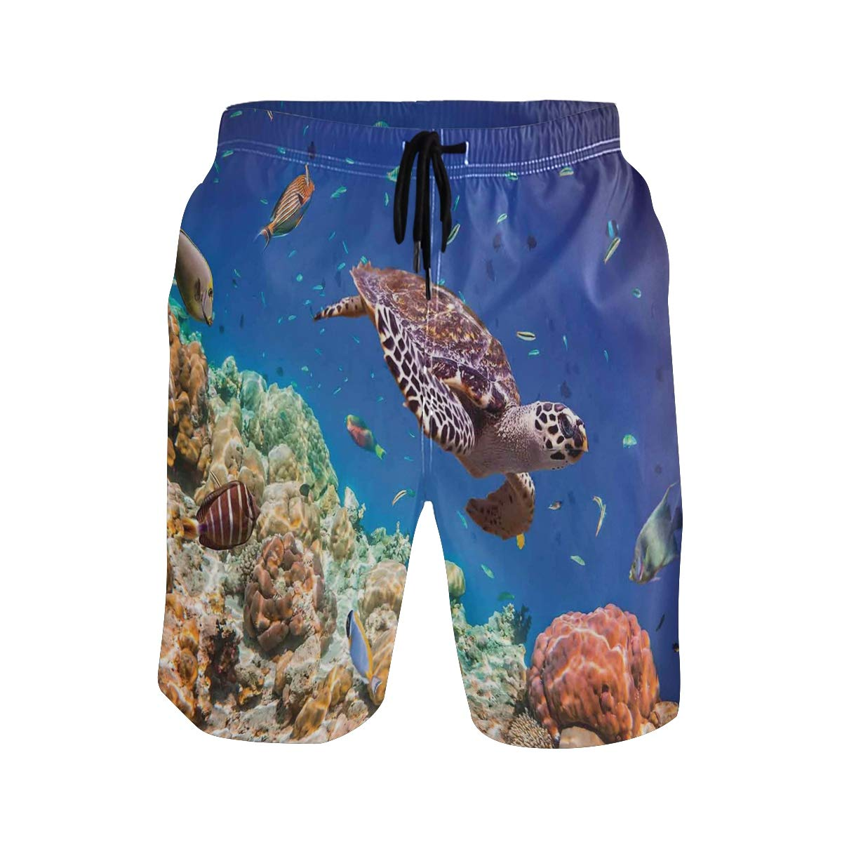 COVASA Mens Summer ShortsLonely Old Tropical Sea Turtle Swimming Shoal Sponges