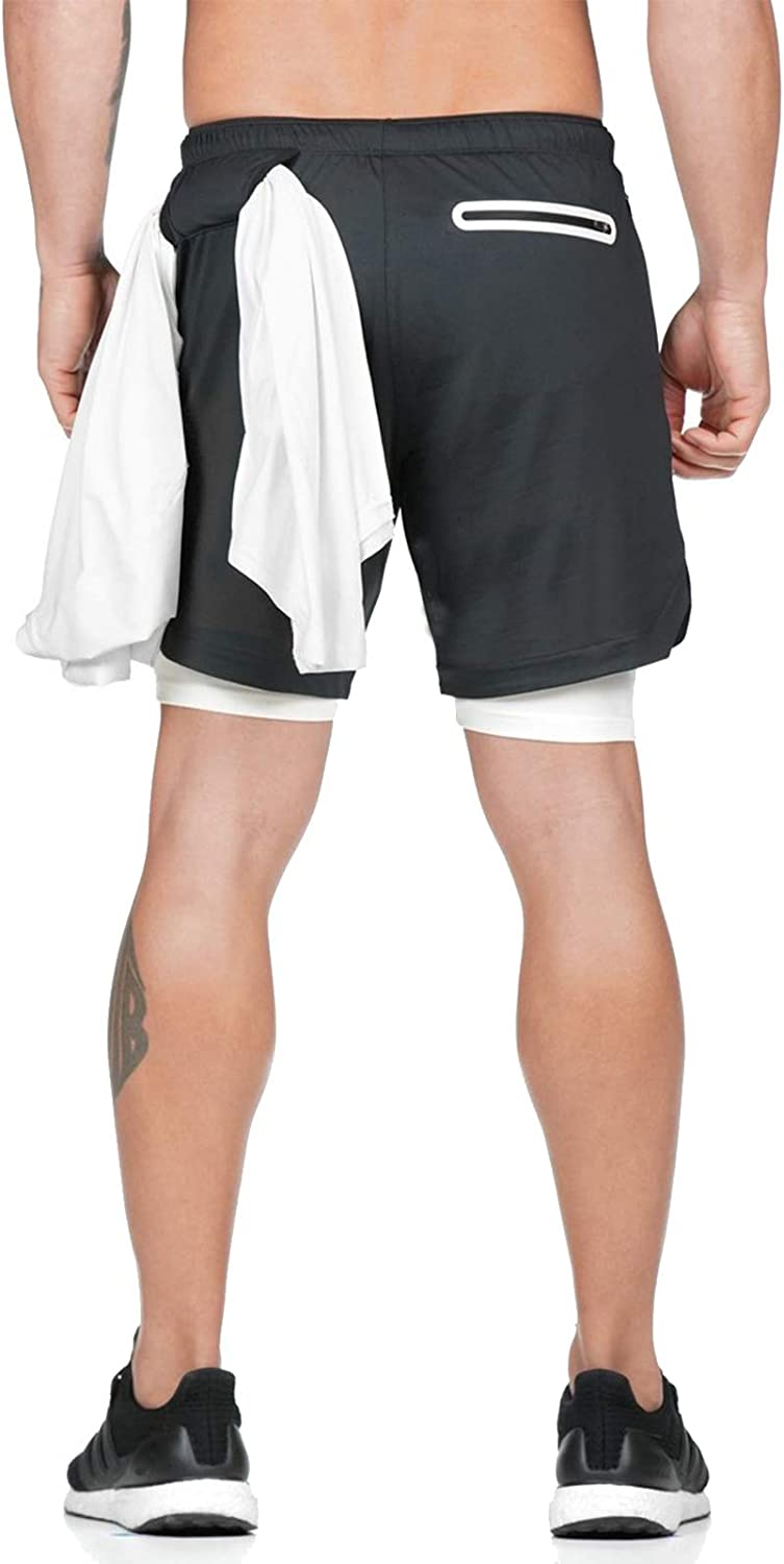 WOG2008 Mens Gym Sport Shorts Breathable Quick Dry Workout Athletic Running Shorts Activewear with Zipper Pockets