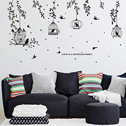 JEWH DIY Black PVC Wall Stickers Hanging Bird cage Art Decals Living Room Sofa Background Sticker