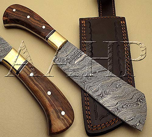 (BRX-306, 11 Inches Handmade Damascus Chopper Knife with Approx 6.5 inch Blade Made of 100% Real Damascus Steel, Approx 4.5 inch Olive Wood with Silver Pins)