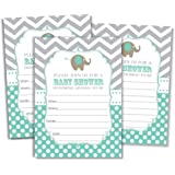 50 Elephant Invitations and Envelopes - Mint (Large Size 5x7)