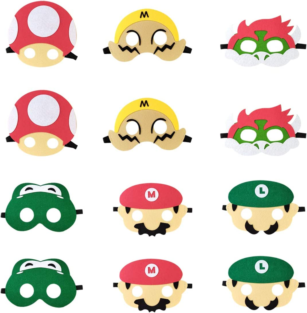 Fuovt 6 Pack Super Mario Bros Party Masks Super Mario Party Supplies for Kids Mario Birthday Party Favors for Boys Girls