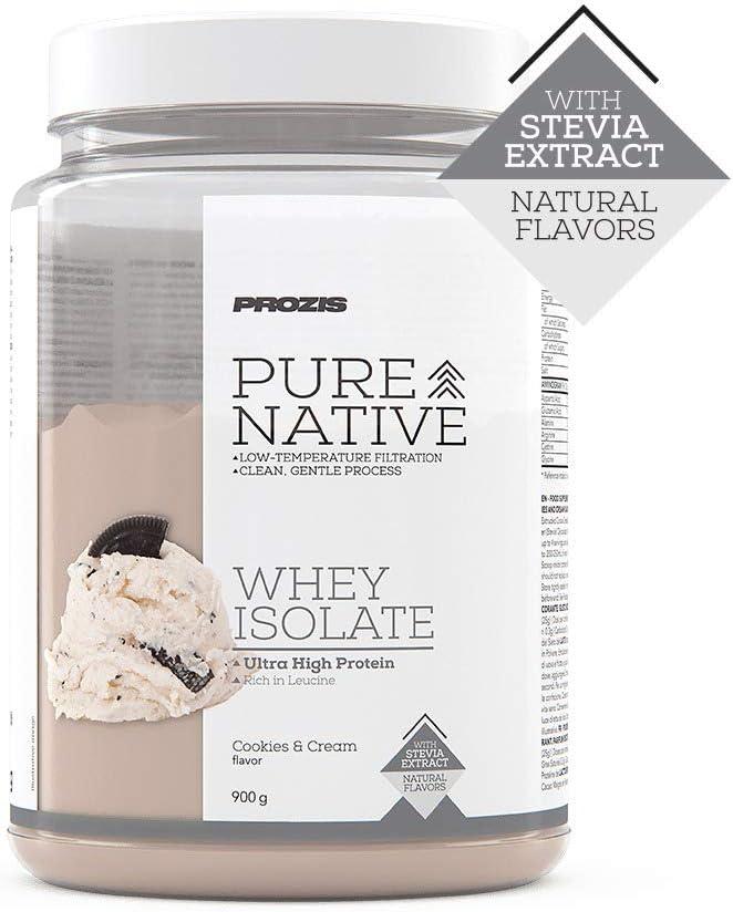 Prozis Natural Pure Native Whey Isolate 900 g Galletas y Crema Proteína natural, Endulzado con stevia, Sin colorantes ni saborizantes artificiales, ...