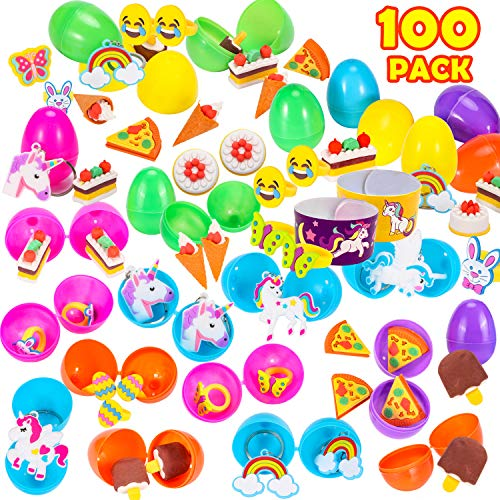 GABOSS 100 Pack Toys Filled Easter Eggs, 2.5 Inches Bright Colorful Prefilled Plastic Easter Eggs,Filled Surprise Eggs for Unicorn Party Favors,Classroom Prize Supplies