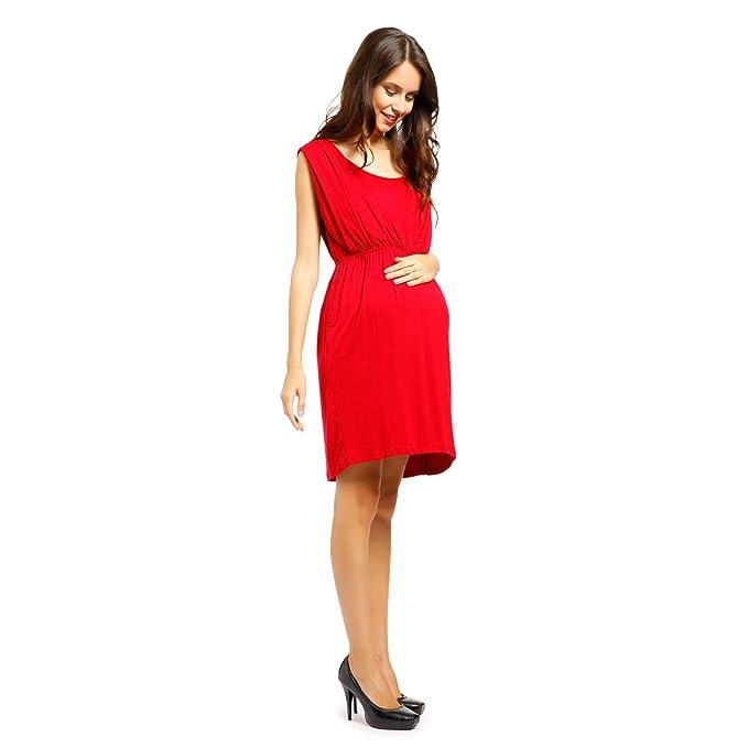 Vestido de Lactancia y Premamá Ropa de Embarazada Talla XXL Color Rojo
