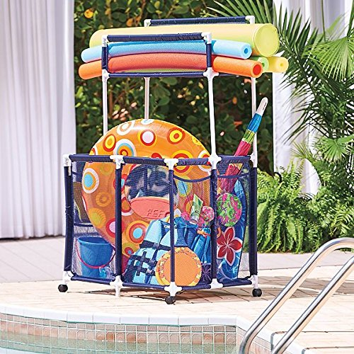Deluxe PVC Polyester Mesh Outdoor Rolling Pool Toy Storage Bin With Noodle Holder 36'W x 24'D x 48'H