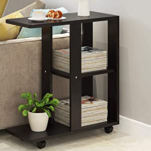HTLLT Storage Rack Side Snack Table with Swivel Sofa Bar Trolley with Wooden Service 3 Tier Kitchen Trolley Cart Trolley with Wheels Bedside Coffee Table,C