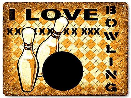 BOWLING metal sign bowling ball PINS great gift retro MANCAVE funny wall decor 459