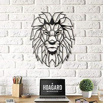 Hoagard Lion Head Geometric Metal Wall Art 40cm x 51cm | Geometric Metal Wall Art & Wall Decoration