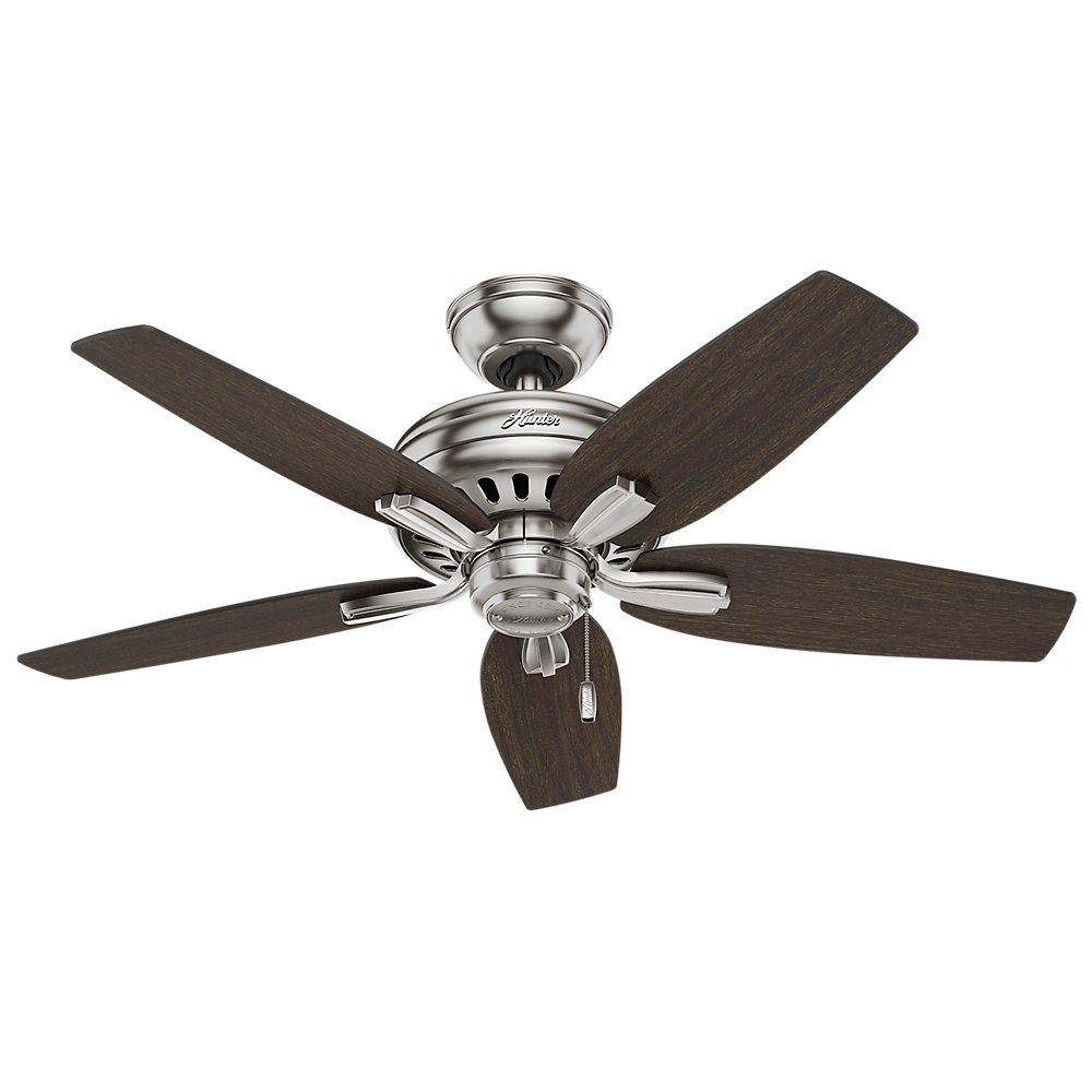 """Hunter 51088 Newsome Ceiling Fan with Light, 42""""/Small, Brushed Nickel - -  Amazon.com"""