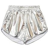 Sport Shorts for Women Gym,Fashion Women High Waist Yoga Sport Pants Shorts Shiny Metallic Pants Leggings,Girls' Fashion,Silver,XXL