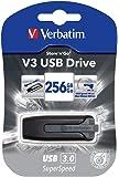 Verbatim 256GB USB 3.0 Store 'n' Go V3 Flash Drive - Cap-Less & PC/Mac Compatible - Gray