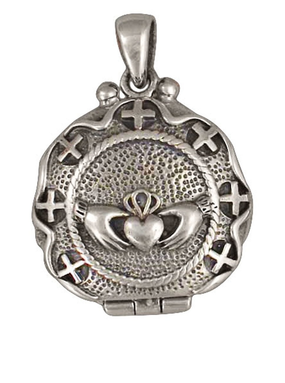 Sterling Silver Womens 20'' 1mm Box Chain Claddagh Locket Pendant Necklace