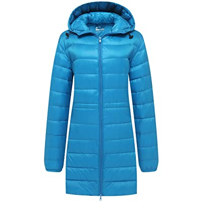 Wantdo Women's Packable Down Jacket Puffer Ultra Light Weight Hooded Long Coat: Clothing