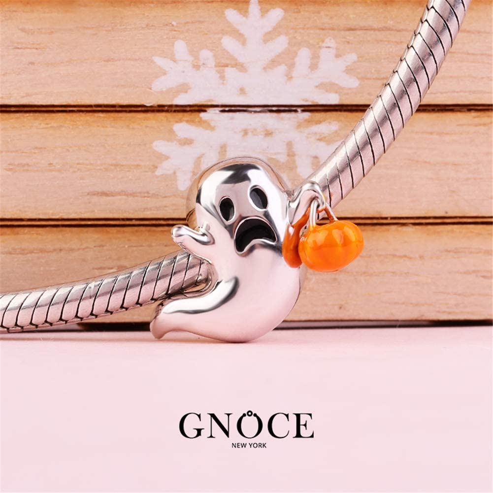 GNOCE Cute Devil with Pumpkin Lamp Charm Bead Sterling Silver Trick or Treat Bead Charm fit Bracelet//Necklace Jewelry Charm Gift for Women