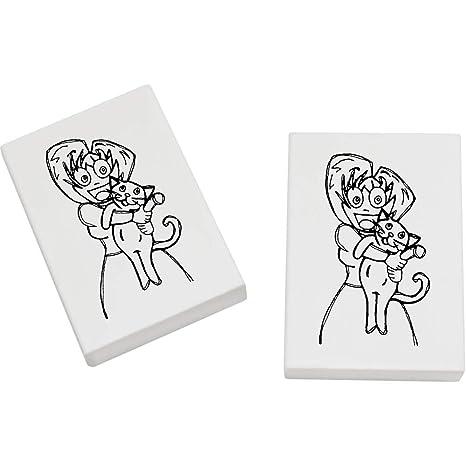 Azeeda 2 x 45mm Señora Loca del Gato Goma de Borrar (ER00004028)