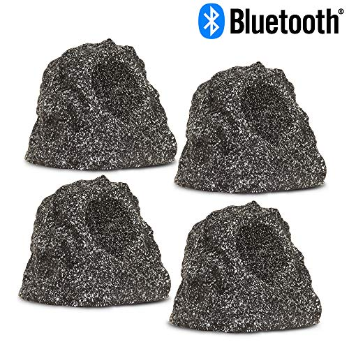 Theater Solutions RBBT4GGMV4 Fully Wireless 240 Watt Rechargeable Battery Bluetooth Granite Rock 4 Speaker Set ()