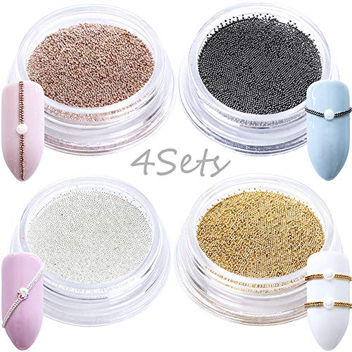 (0.4mm 3D Micro Nail Caviar Beads Mixed Color Nail Art Supplies Set Mini Balls 4 Boxes Small Nail Studs Charms for Nails Beauty Decorations Manicure Accessory Tool Metal Tips (Gold Silver Black))