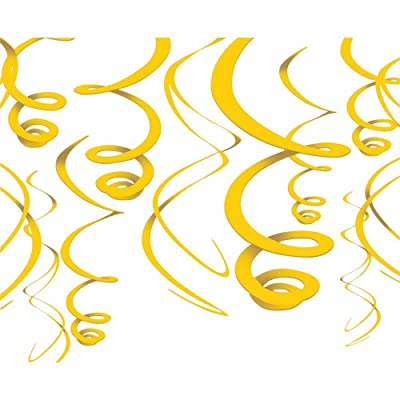 amscan Yellow Hanging Swirl Decorations (12ct): Toys & Games