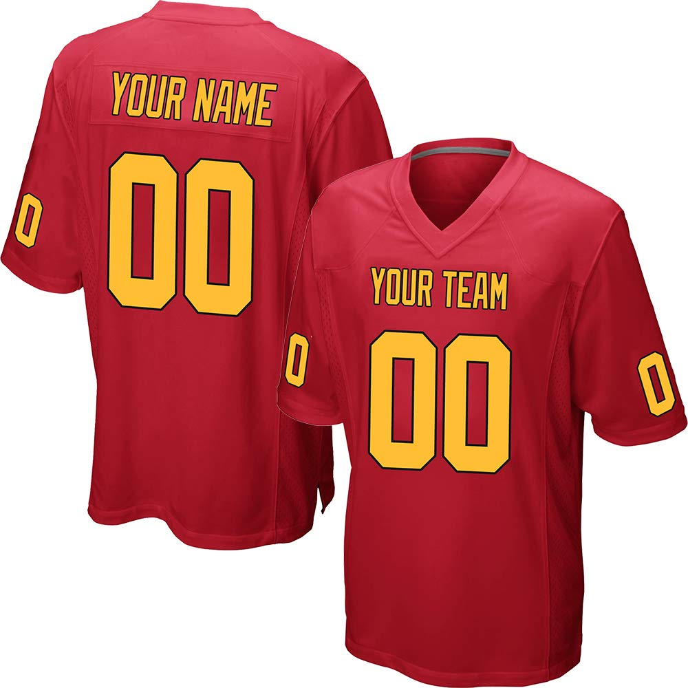 30ff826351c Custom Red Mesh Replica Football Jersey Embroidered Team Name and Your  Numbers