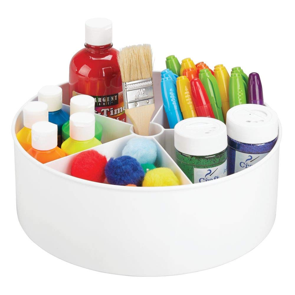 mDesign Deep Plastic Lazy Susan Turntable Storage Organizing Container - Divided Spinning Organizer for Craft, Sewing, Art, School Supplies in Home, Office, Classroom, Playroom or Studio - White by mDesign
