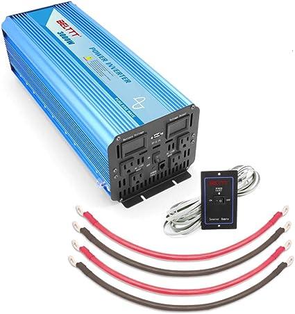 EDECOA 3000 Watt 6000W Power Inverter 12V DC to 110 V 120V AC LCD Cables Car