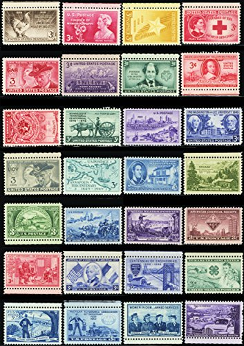 Old Stamp Mint (50 Different Mint Vintage Collectible 3 Cent U.S. Postage Stamps All Over 60 Years Old)