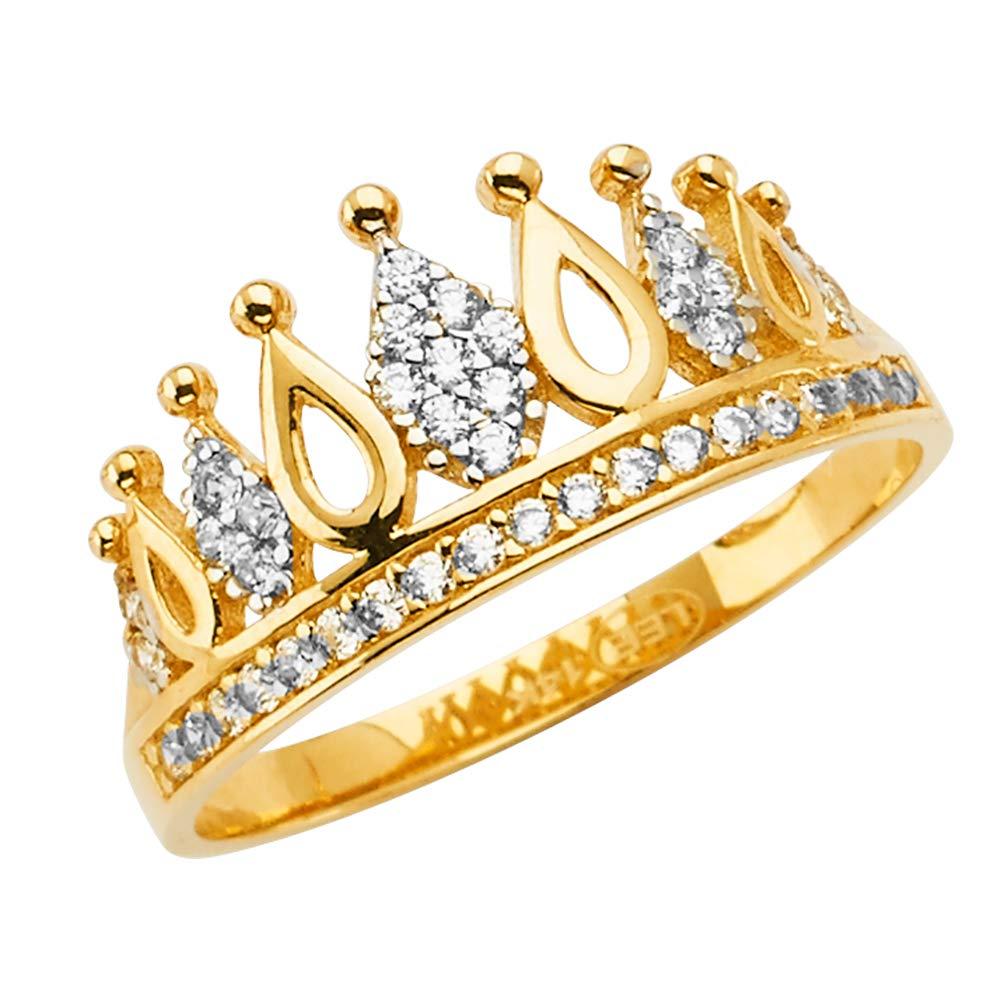 Ioka 14K Solid Yellow Gold Princess Crown OR Tiara Ring For Girls