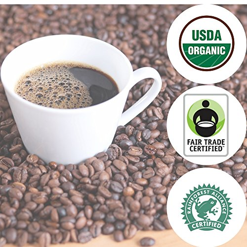 DARK ROAST ORGANIC Whole Bean Coffee | 5 LB Bulk Bag | Fair Trade & Rain Forest RFA Certified | Full-Body, Chocolate/Caramel, Bold, Rich Taste | Specialty Handcrafted 100% Arabica Origin