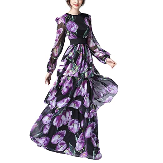 3dd90e12fa12 Floral Print O-Neck Long Sleeve High Waist Swing Maxi Women Elegant Dress ( Color