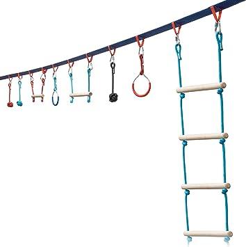 Sunny & Fun - Juego de barra y escalera de mono portátil de 50 pies para niños -