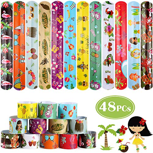 Summer Theme Parties (G.C 48 Pcs Hawaiian Summer Theme Slap Bracelets for Kids Perfect for Party Game Prize Goodie Bags Fillers Luau Beach Tropical Party Favors for)