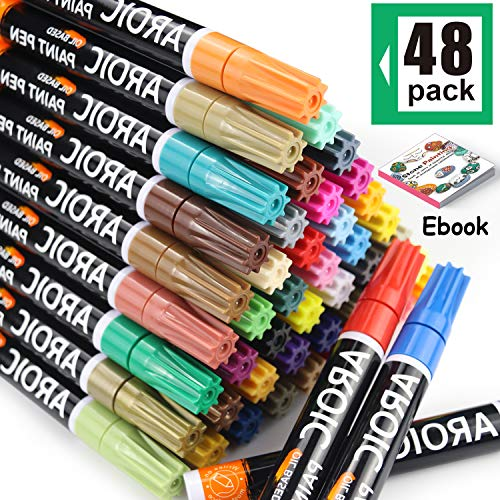 Paint Pens for Rock Painting - Write On Anything! Paint pens for Rock, Wood, Metal, Plastic, Glass, Canvas, Ceramic & More! Low-Odor, Oil-Based, Medium-Tip Paint Markers (48 Pack)