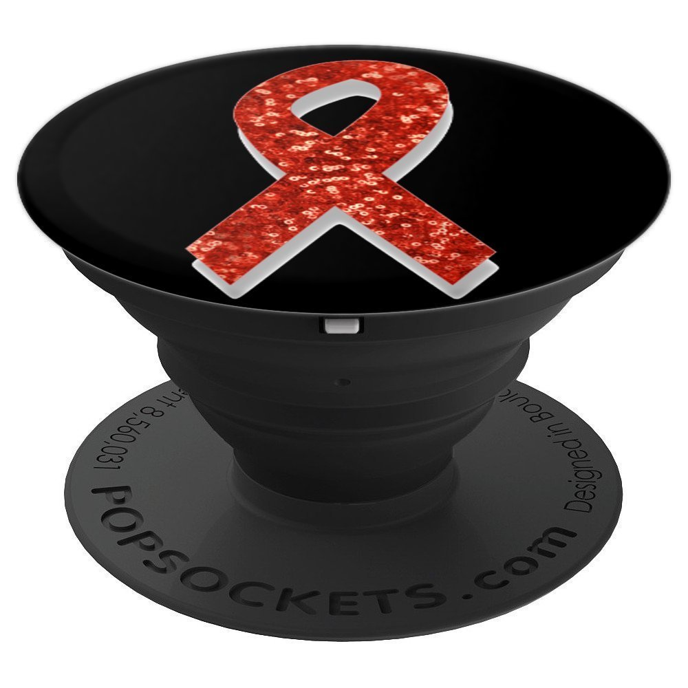 aids awareness red ribbon - PopSockets Grip and Stand for Phones and Tablets