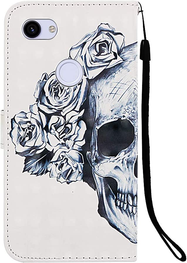 Candy House Premium 3D Wallet Phone Case Half Skull Design PU Leather with Card Holder /& Hand Strap Google Pixel 3a XL Case Stand Magnetic Flip Cover Fit for Google Pixel 3a XL