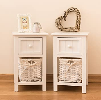 Sue Ryder Lot De 2 Table De Chevet Style Shabby Chic Blanc Avec