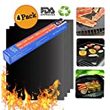 """CASEKING Grill Mat, Featured on Rachael ray Top Grilling Accessories, Nonstick BBQ Mats 4 pieces-15.8""""x13"""""""