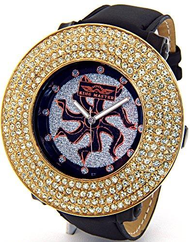 Mens King Master Diamond Watch Jumbo Bezel (Extra Bezel Included) Black Leather Band #KM-570