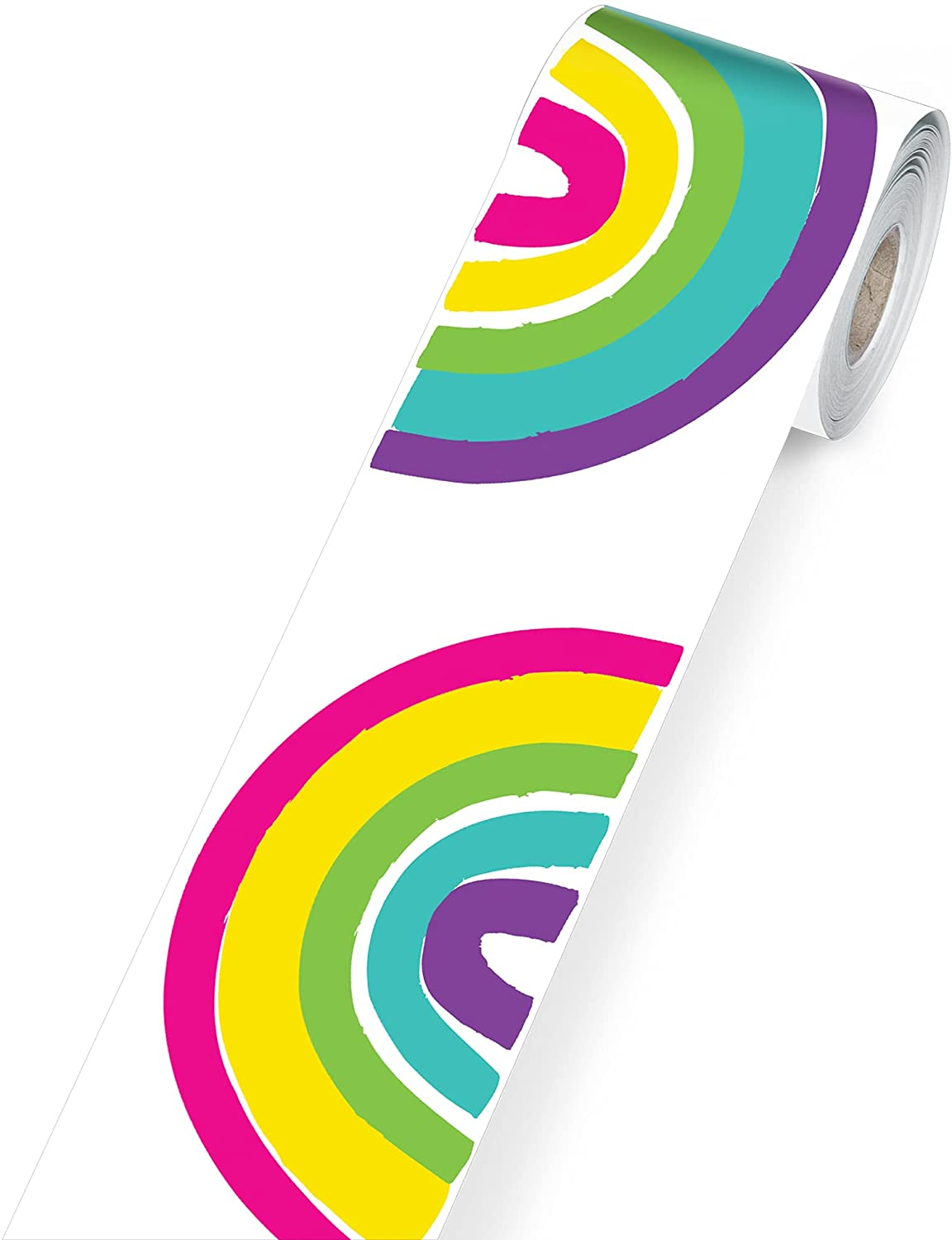 Carson Dellosa Kind Vibes Rolled Rainbow Border—Rolled Border With Colorful Rainbows for Bulletin Boards, Desks, Lockers, Homeschool or Classroom Decor (36 ft)