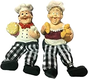 chantubtimplaza Chef Figurine Fridge Magnet New Set 2 Italian Fat Adorable Moving Leg Bistro Home Decor Serving Food Statue