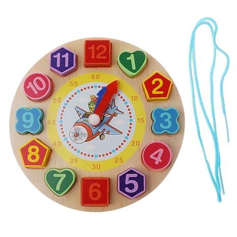 Homyl Juguetes Educativos Montessori de Madera - Reloj Digital con Cadena de Cordones - Multicolor -