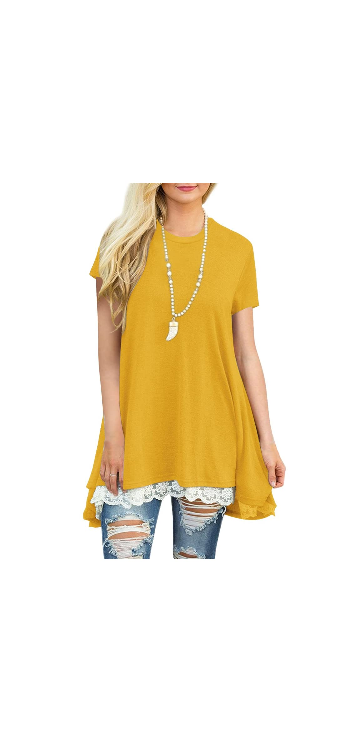 Womens Lace Casual Short Sleeve Tunic Tops Loose Shirt