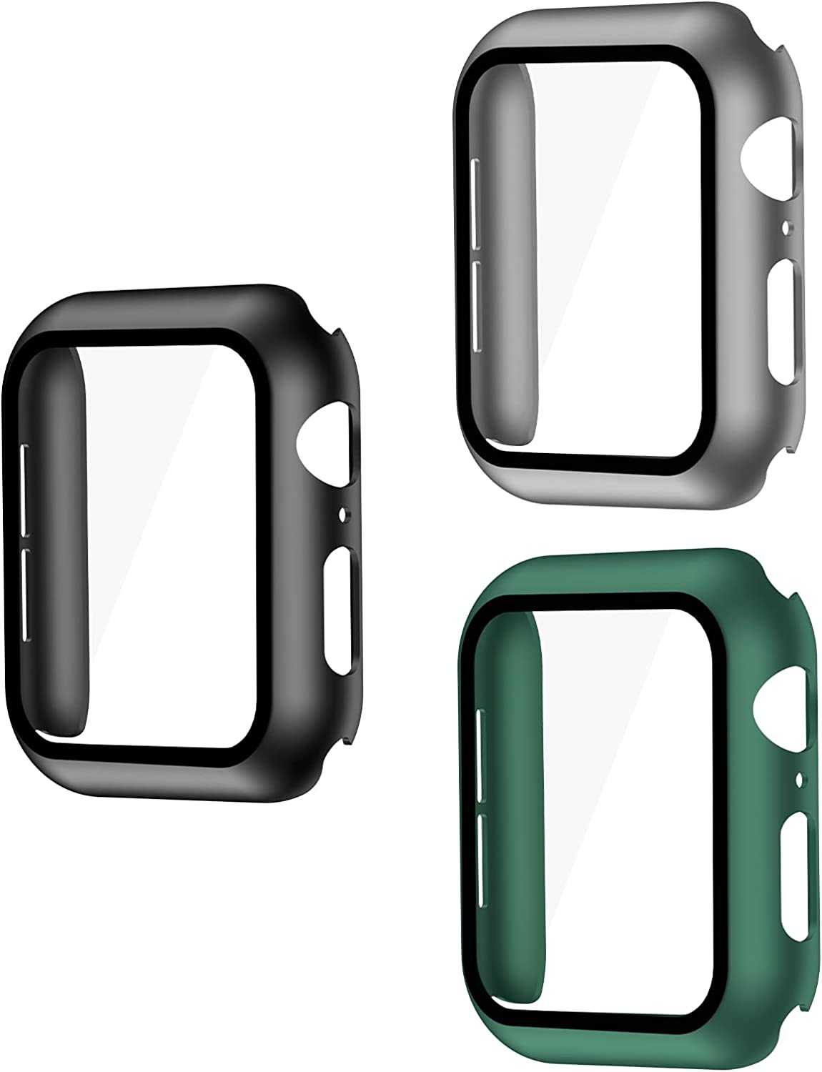 Smiling 3 Pack Case Compatible with Apple Watch Series 6/SE/Series 5/Series 4 44mm with Built in Tempered Glass Screen Protector- All Around Hard PC Case Overall Protective Cover(Black/Grey/Green)